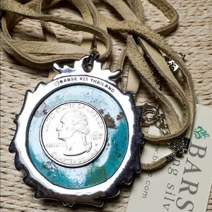 BARSE Turquoise Pendant Necklace Sterling Leather